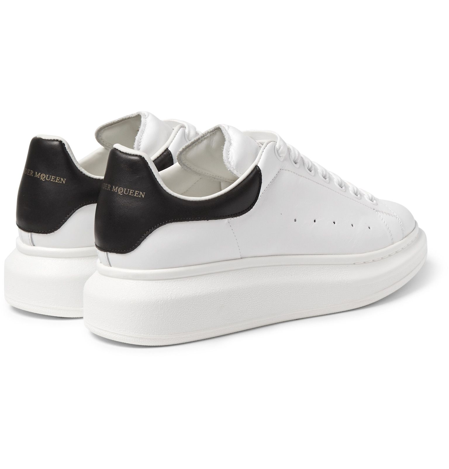 Alexander McQueen - Exaggerated-Sole Leather Sneakers ...