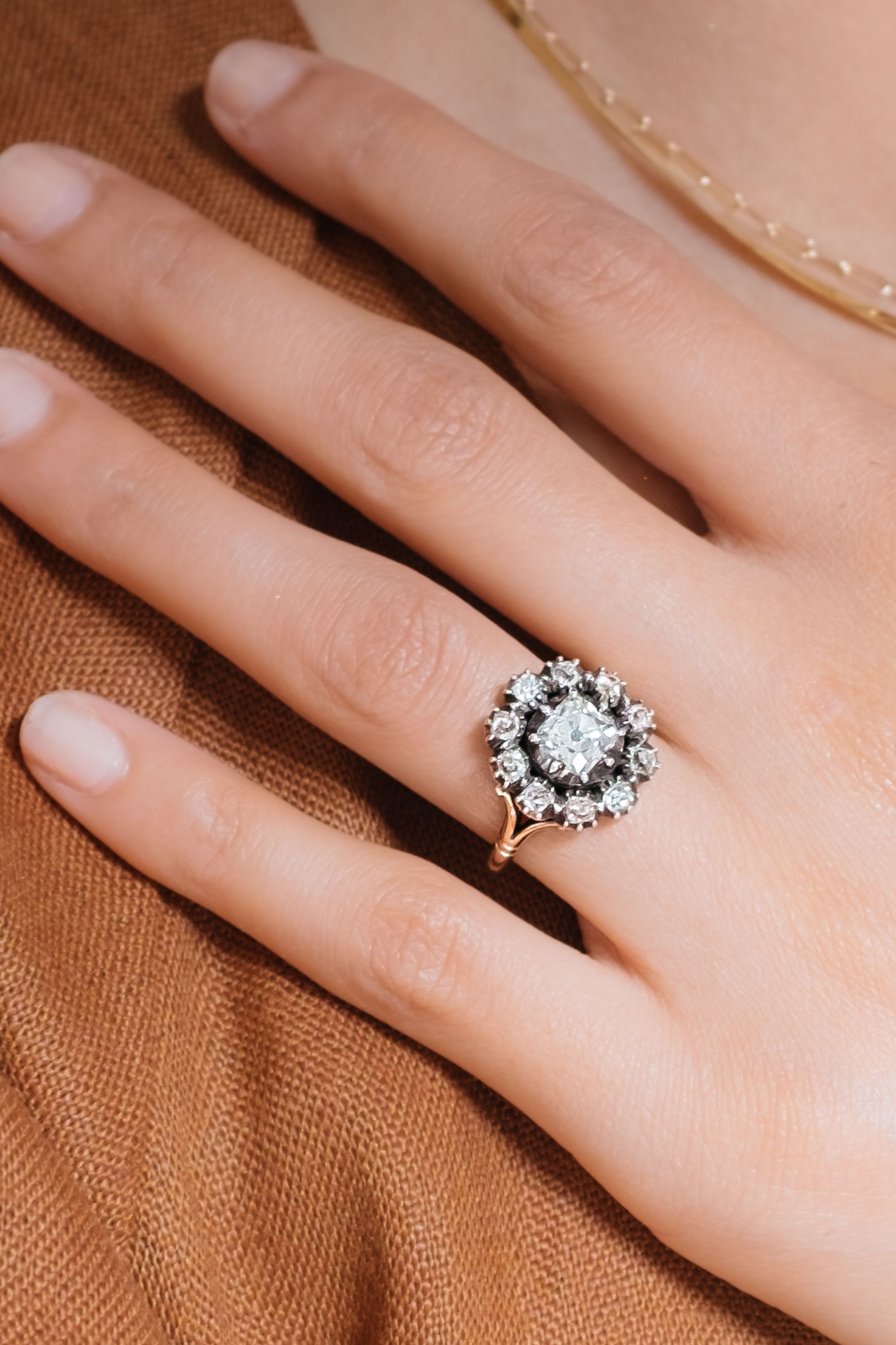 Early Victorian 90 Carat Old Mine Cushion Diamond Cluster In 2020 Diamond Cluster Engagement Ring Cluster Engagement Ring Hand Rings Fashion