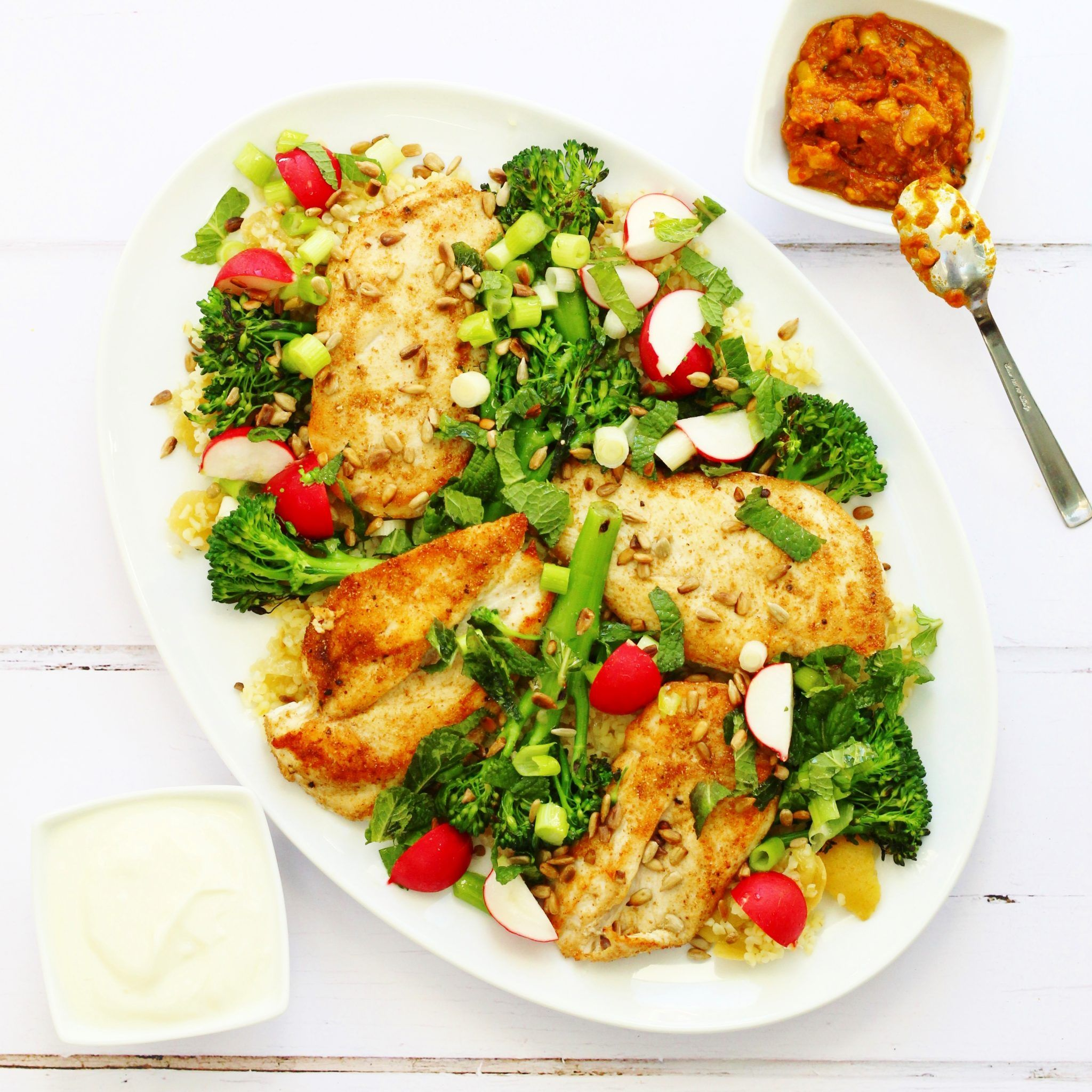 Jamie Oliver 15 Min Küche Jamie Oliver S Chicken Broccoli And Bulgur Wheat Salad Searching