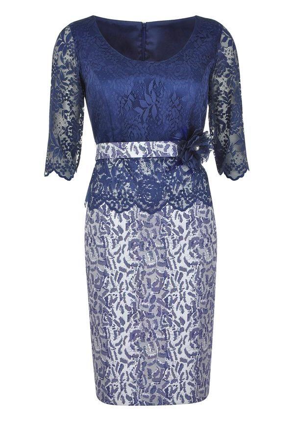 Nati Jiminez - Occasion Wear Lace Bodice Dress Navy - www.mcelhinneys.com