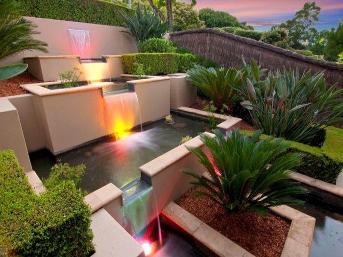 wasserfall im garten moderne gartengestaltung wasser pflanzen ... - Moderne Vorgarten Gartengestaltung
