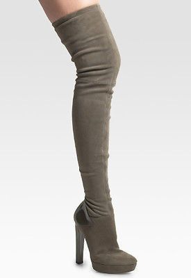 Gucci Grey Suede Over The Knee Karen Boots Size 41.5/10.5 NEW