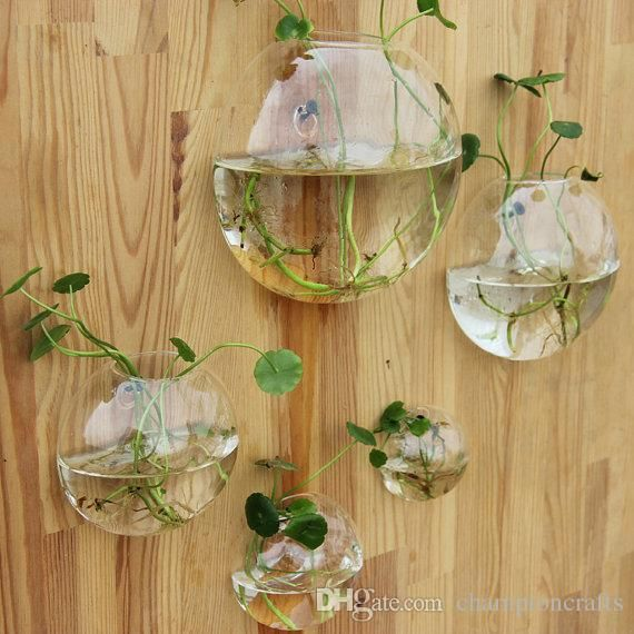 Clear Glass Wall Planter Flower Vase Diy Wall Succulent Terrarium Fish Tank For Home Decor Wall Decor Garden Deco Fish Tank Wall Wall Terrarium Glass Wall Vase