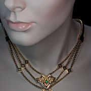 Victorian Antique Locket Necklace Jewelled 14K Gold
