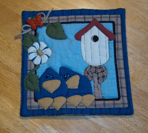 Mini Quilted Mug Rug Candle Mat by dehdesigns on Etsy