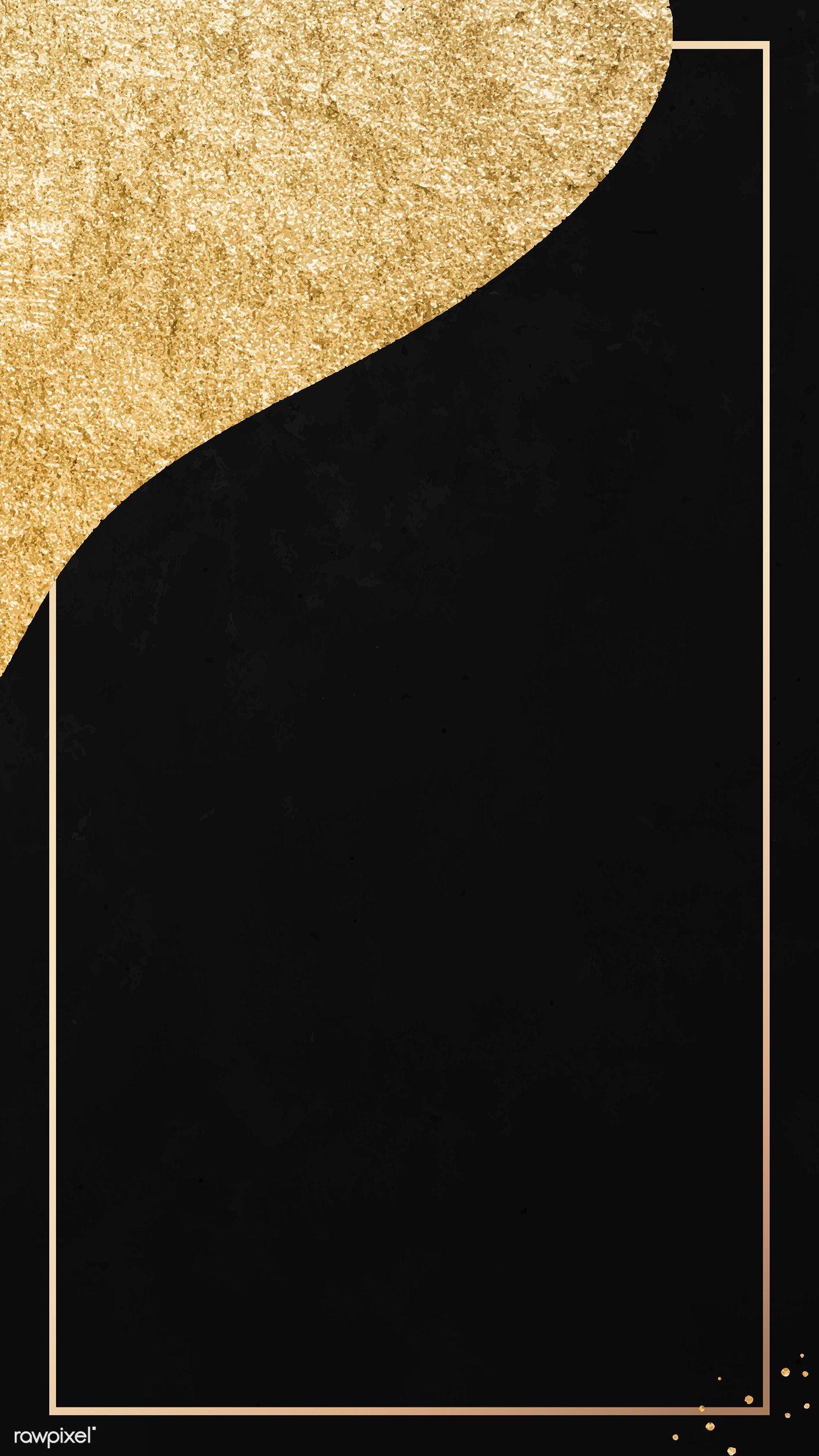 Download Premium Vector Of Gold Frame On Black And Golden Patterned Mobile Gold And Black Wallpaper Golden Pattern Gold Wallpaper Phone
