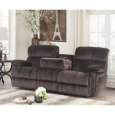 Blankenship Fabric Reclining Sofa With Drop Down Console And Usb