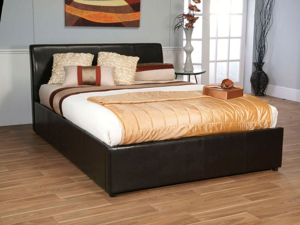 awesome king size storage bed with cushions and comforter cadre de lit en cuir