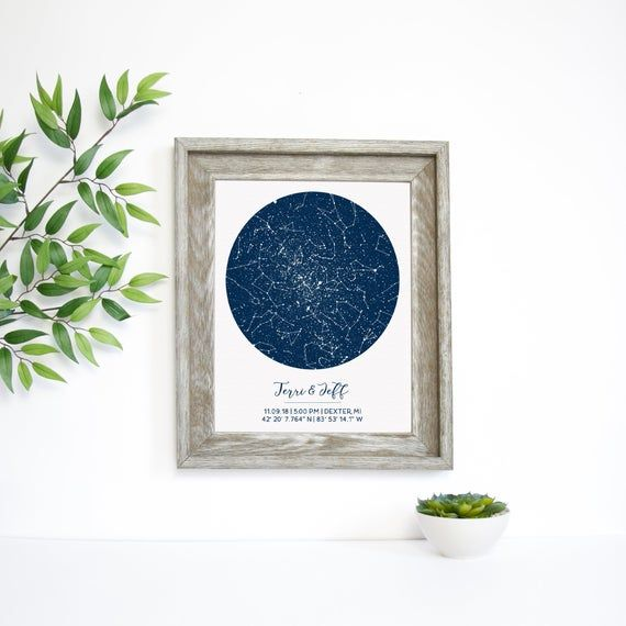 Silver Wedding Anniversary Gifts For Him: Custom 5 Year Anniversary Gift, Custom Star Map, Gift For