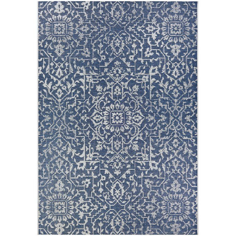 A Fun Polka Dot Rug In Navy Blue Turquoise And Teal Makes A Modern Statement Bonus It S Indoor Outdoor Blue Rug Blue Area Rugs Rugs