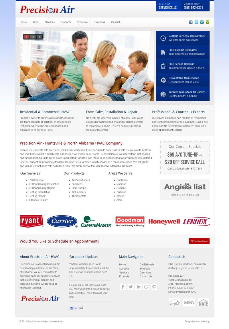 Precision Air Hvac Custom Webdesign On Joomla 2 5 A Clean And Corporate Theme For Local Heating And Cooling Hvac Company Commercial Hvac Heating And Cooling