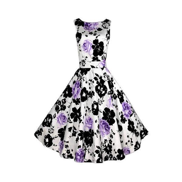 Rotita Black and Purple Flower Print Sleeveless Dress ($25
