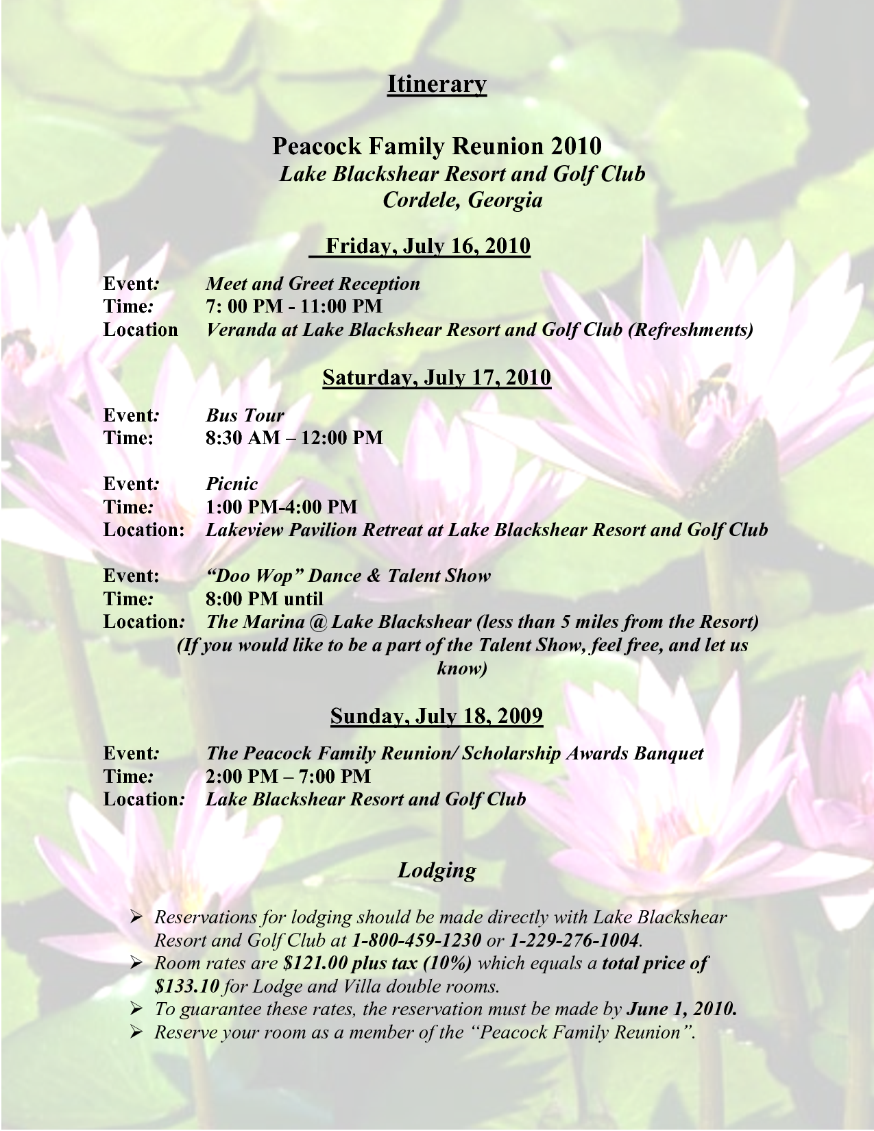 Sample Family Reunion Program Templates | Itinerary Peacock Family Reunion  2010  Free Printable Family Reunion Templates