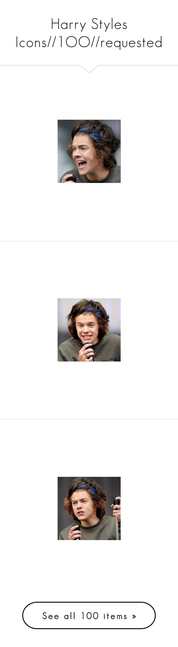 """""""Harry Styles Icons//1OO//requested"""" by disney-clipper ❤ liked on Polyvore featuring harry styles, harry, icons and pictures"""