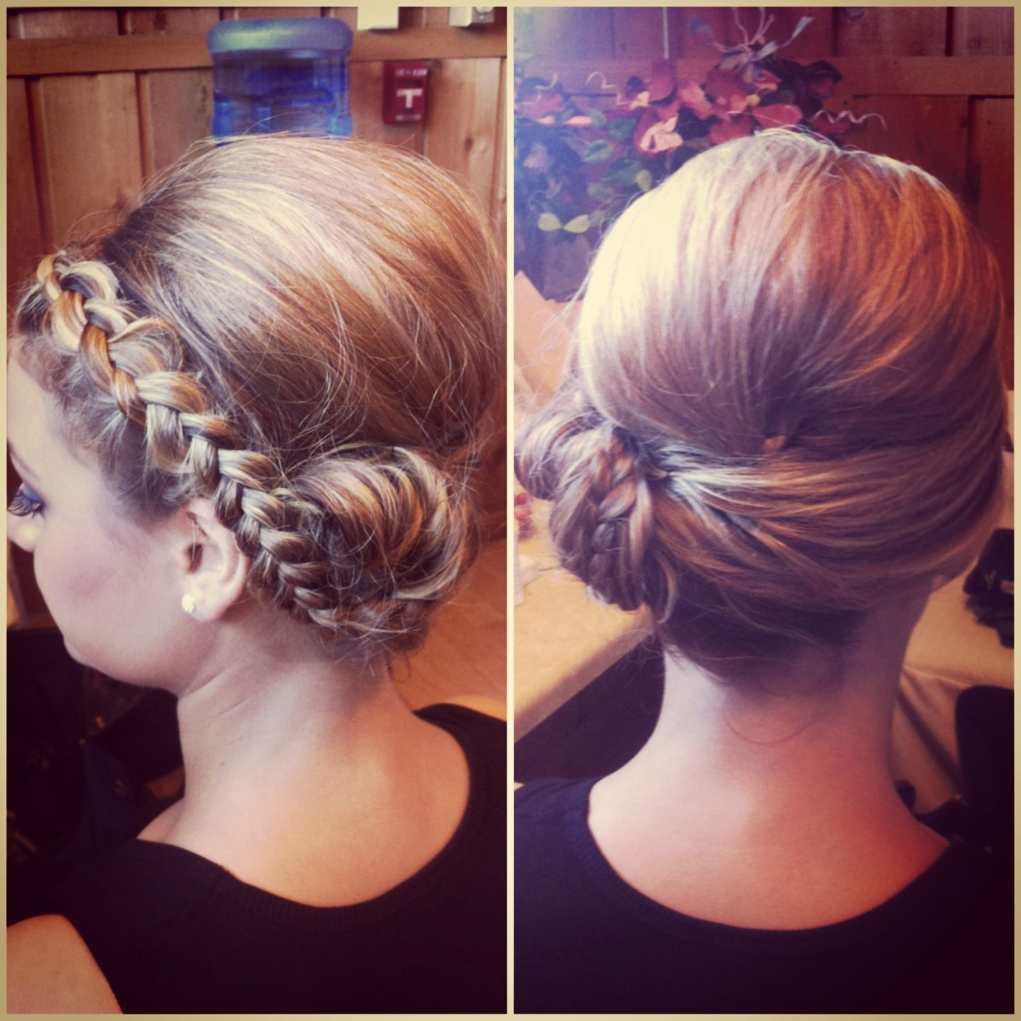 Bridesmaids hair reverse french braid pined up to one side with