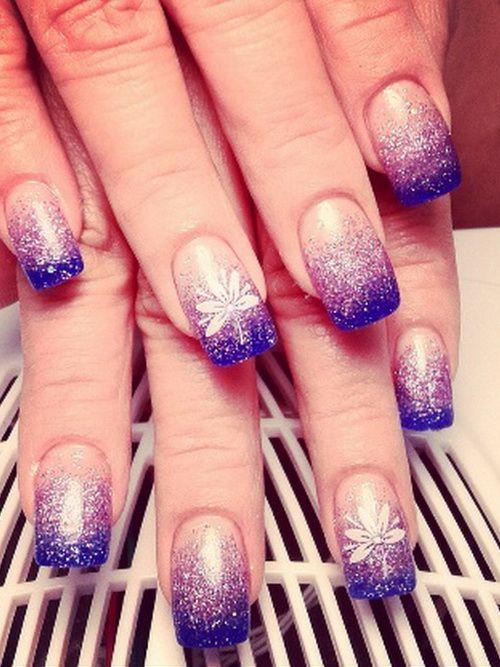 Purple Glitter Acrylic Nails Art