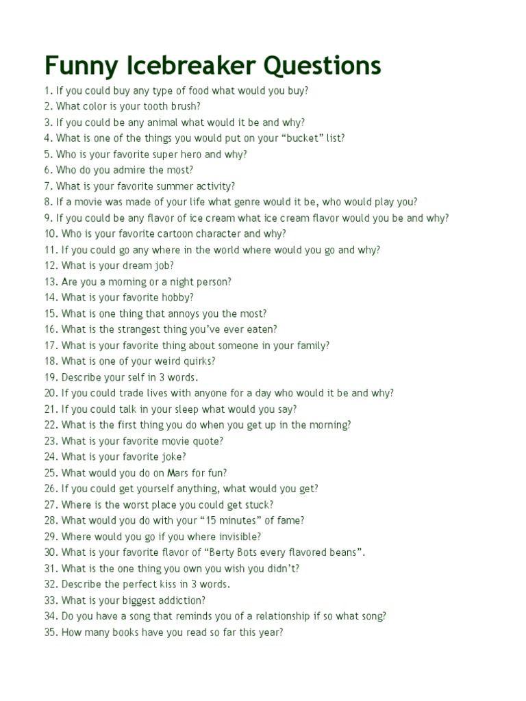 Weird Icebreaker Questions 1