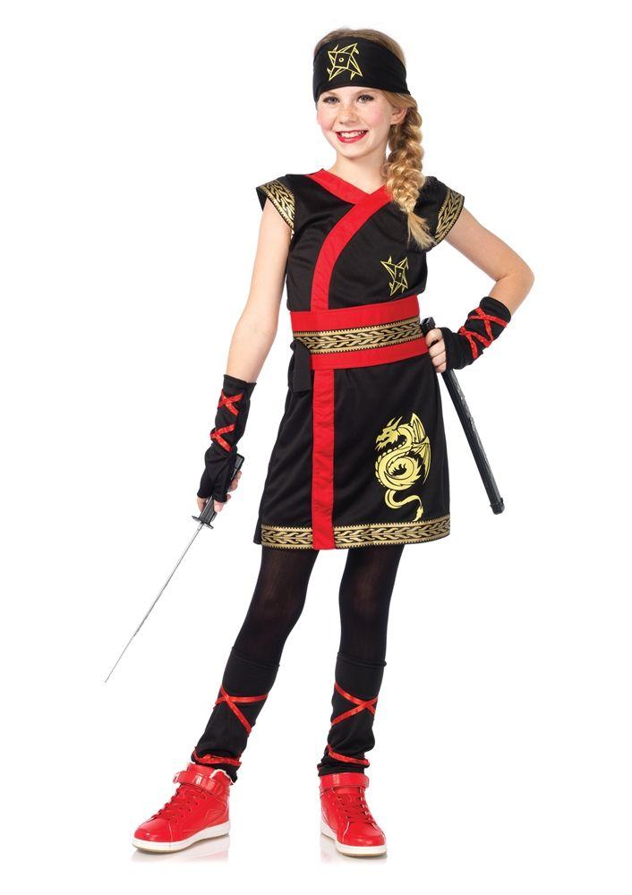 Samurai Dragon Master Ninja Warrior Black Fancy Dress Halloween Child Costume