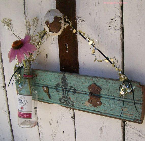Mardi Gras Style Salvaged GArden Art Flower Vase by 3vintagehearts, $12.50