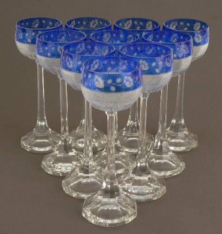 A Set of Crystal Wine Glasses