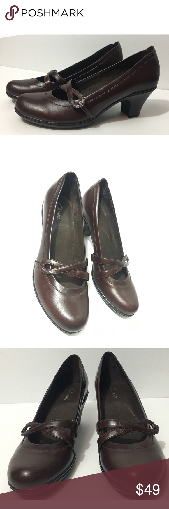 "Womens CLARKS Bendables Brown Leather 2"" Heel Pumps Slip-on Shoes 8M - EUC"