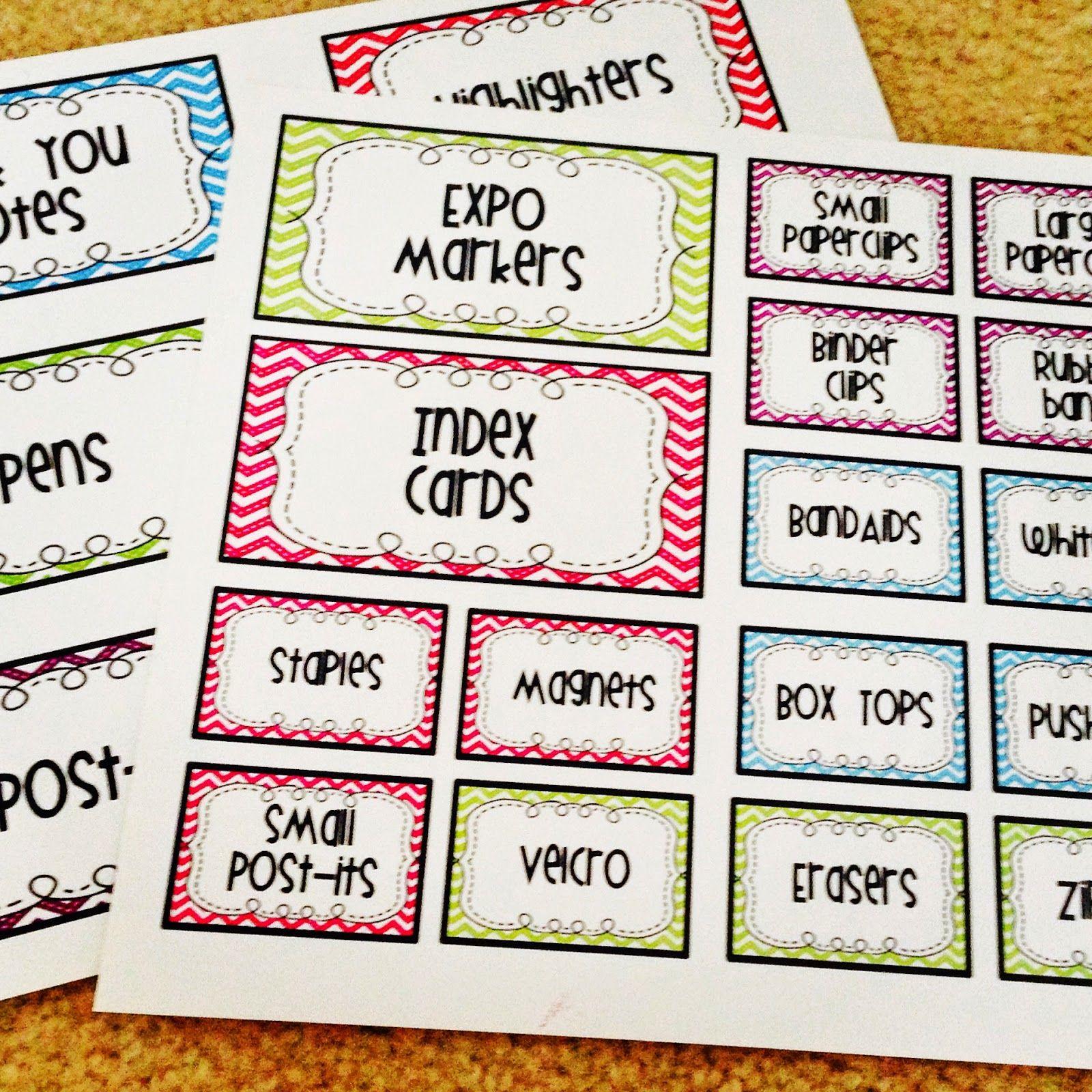 Bright Chevron Teacher/Student Toolbox Labels