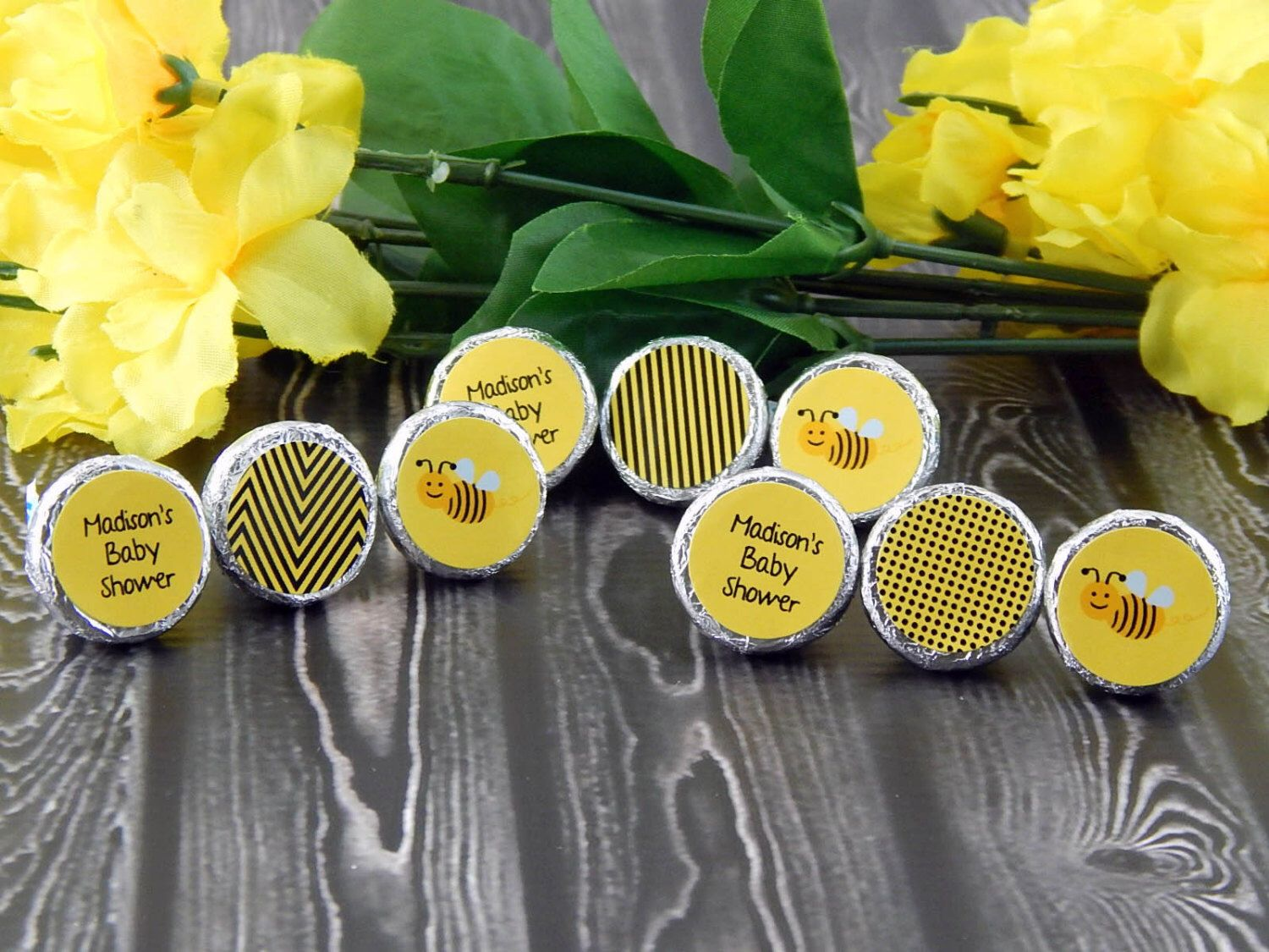 Bumble Bee Baby Shower Favors - Bumble Bee Party Favors - Bumble Bee Birthday Favors - Hershey® Kiss Stickers - 108 PRINTED Labels by PartyFavorsbyDesign on Etsy https://www.etsy.com/listing/247764348/bumble-bee-baby-shower-favors-bumble-bee