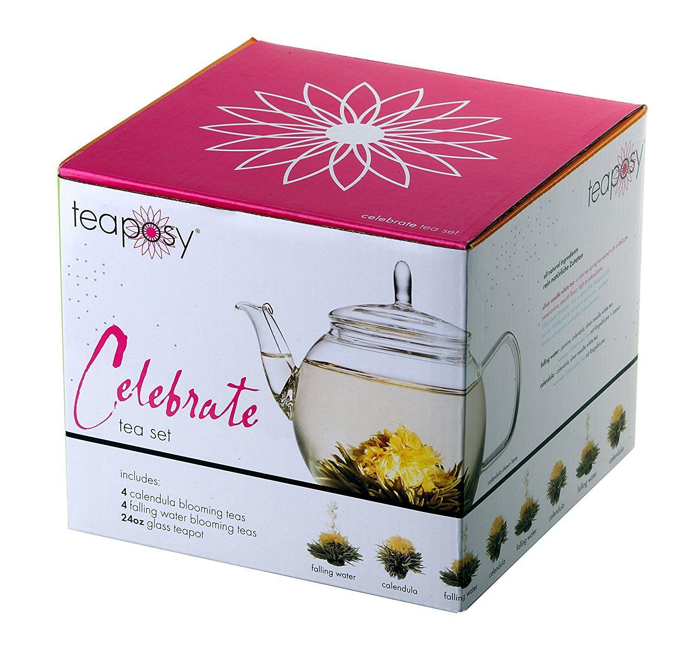 """Teeblumen-Geschenkset """"Celebrate"""" (Zauber in der Tee-Kanne) mit Glas-Teekrug 700ml und 8 hochwertigsten Teeblumen im schönen farbigen Geschenkkarton zu Weihnachten!: Amazon.de: Grocery"""