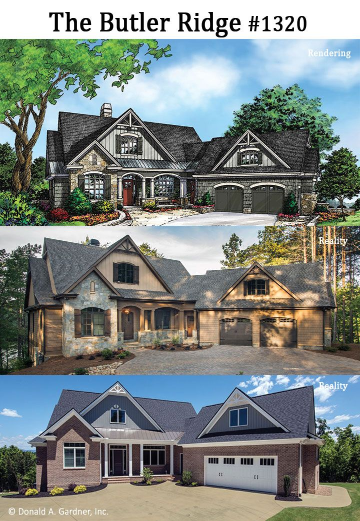 We Have Three Looks For The Butler Ridge 1320 The Original Rendering And Two Built Homes Wedesigndreams House Plans Lake House Lake House Plans