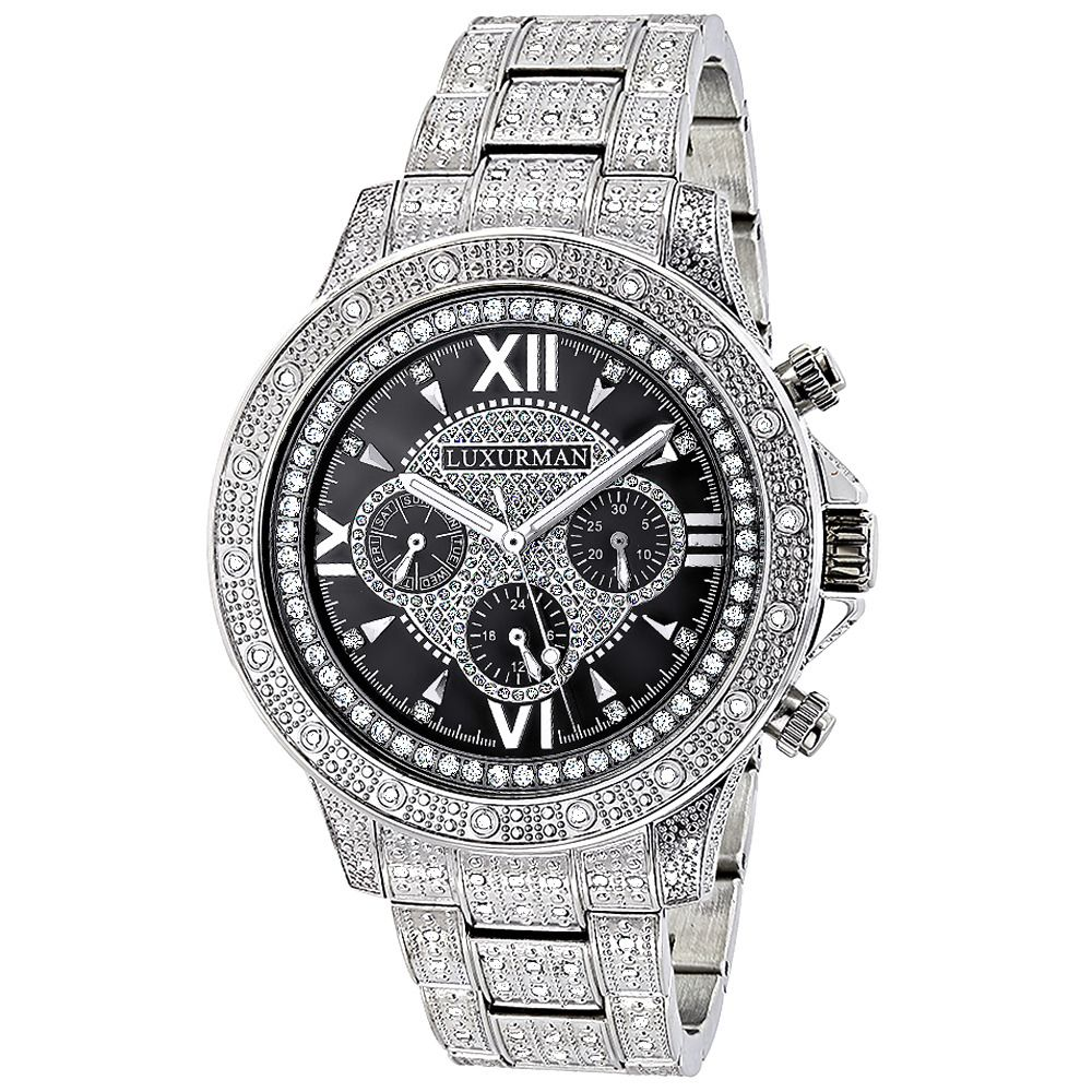 Iced Out Mens Watch with Diamond Band 1.25ct Luxurman