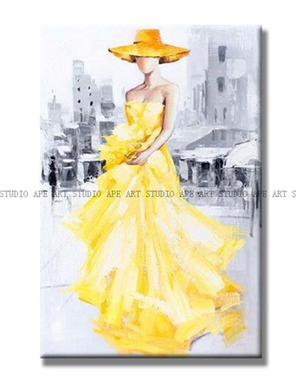 Lady in yellow dress painting,elegant woman oil painting,abstract ...