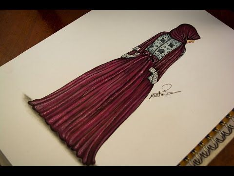 تعليم رسم وتصميم ازياء رسم فستان سهرة للمحجبات How To Draw Fashion Youtube Fashion Sketches Drawing Illustrations Drawings