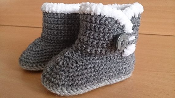 UGG Style Baby Boots 3-6 Months. Fur Boots. Luxury Crochet Baby ...