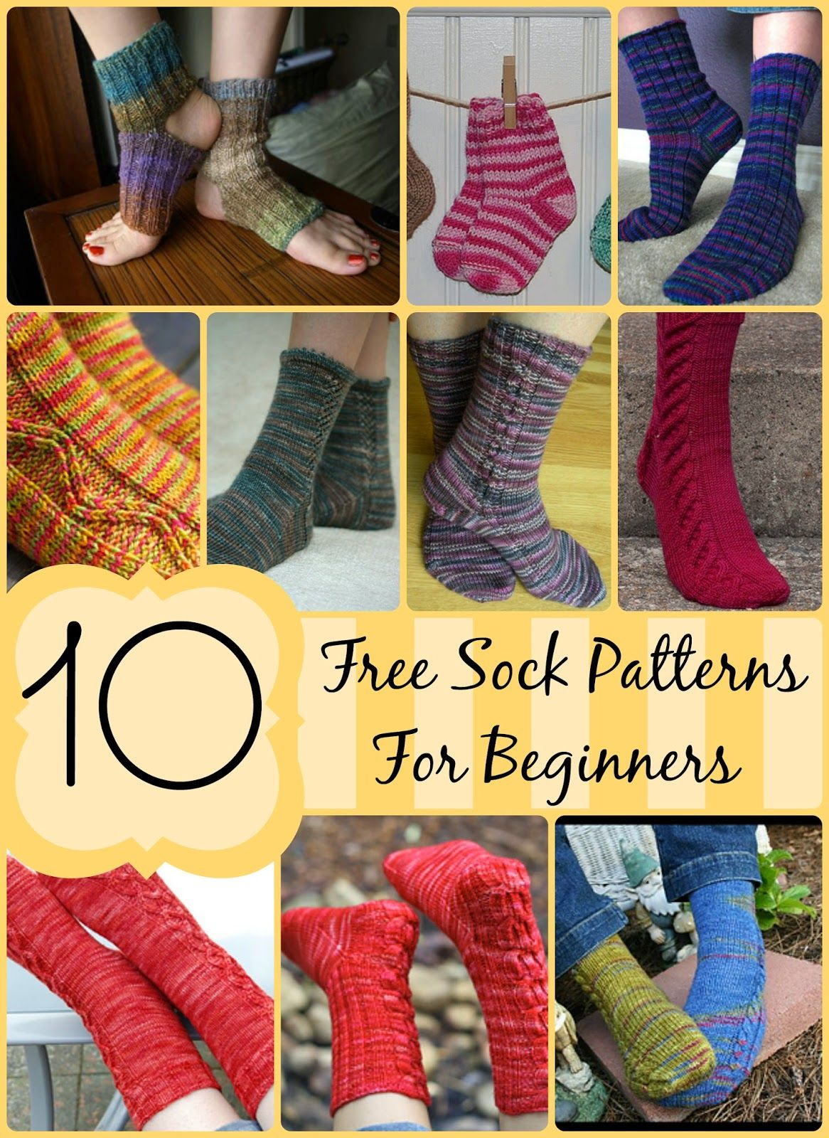 10 FREE Sock Patterns for Beginners!  Easy patterns to make your way into the wo…