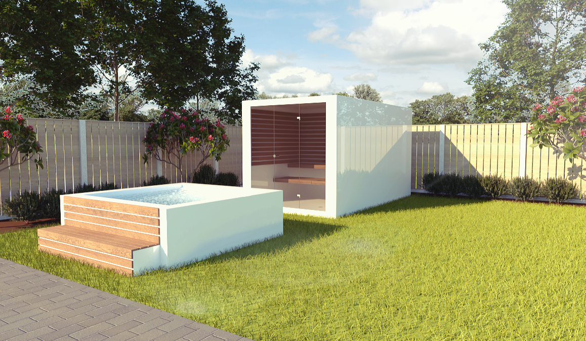 Photo of Design outdoor Spa / jacuzzi to match our outdoor saunas