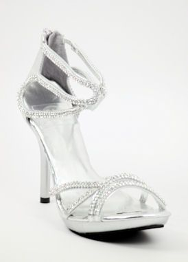 Wedding Shoes Silver With 3 Heels And Platform Style