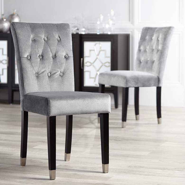 Argyle gray tufted armless dining chairs set of 2 47a15