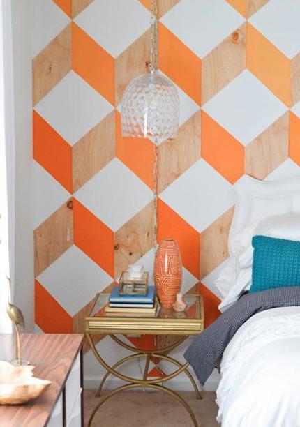 Geometric Wall Art Decor Orange Vs White Natural Wood