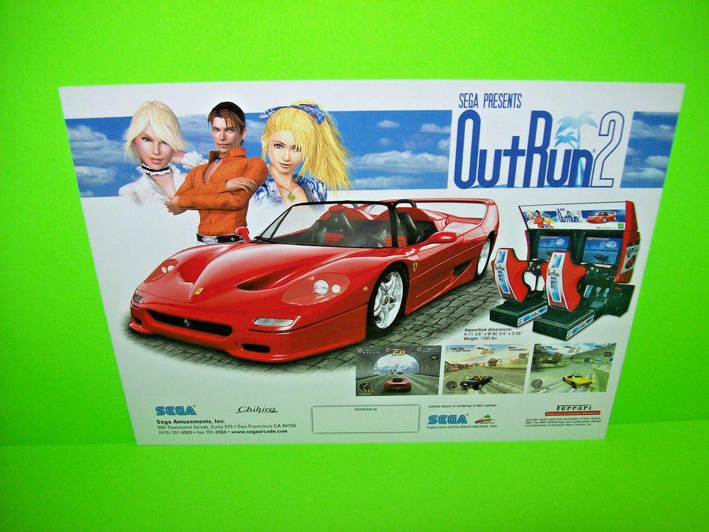 Sega OUTRUN 2 Original 2003 NOS Video Arcade Game Promo Sales Flyer Red Ferrari #SegaOutrun2