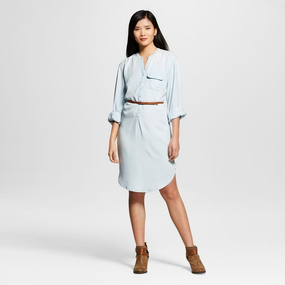 Womenus long sleeve denim shirt dress light wash products