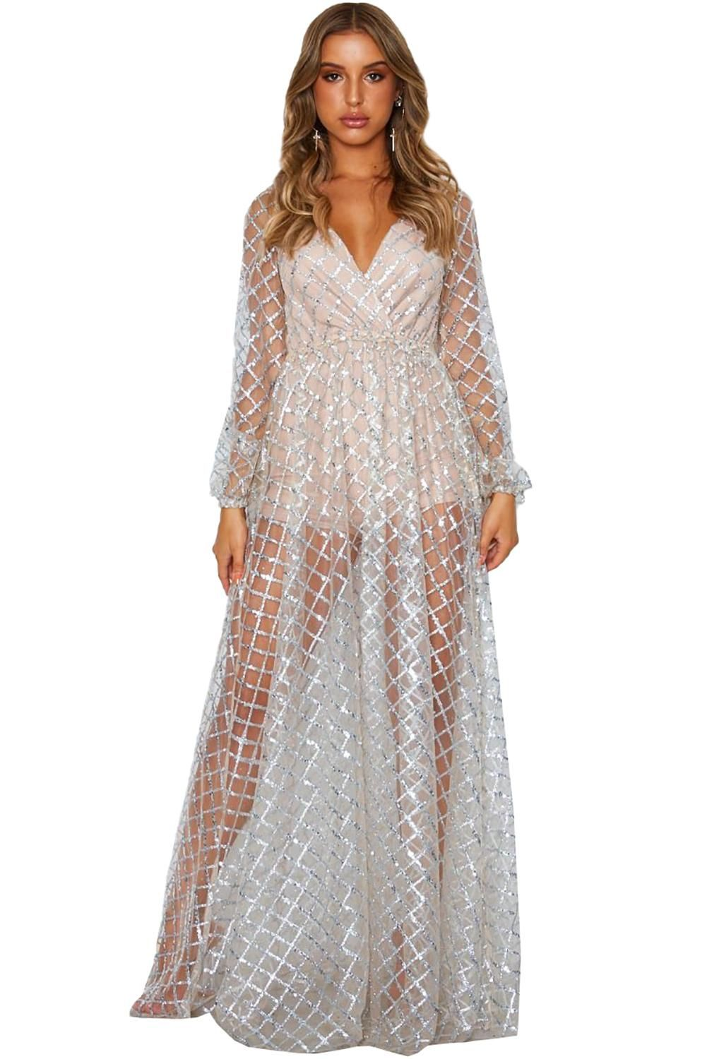 Silver Pattern Sheer Gown V neck Full Sleeve Regular Party