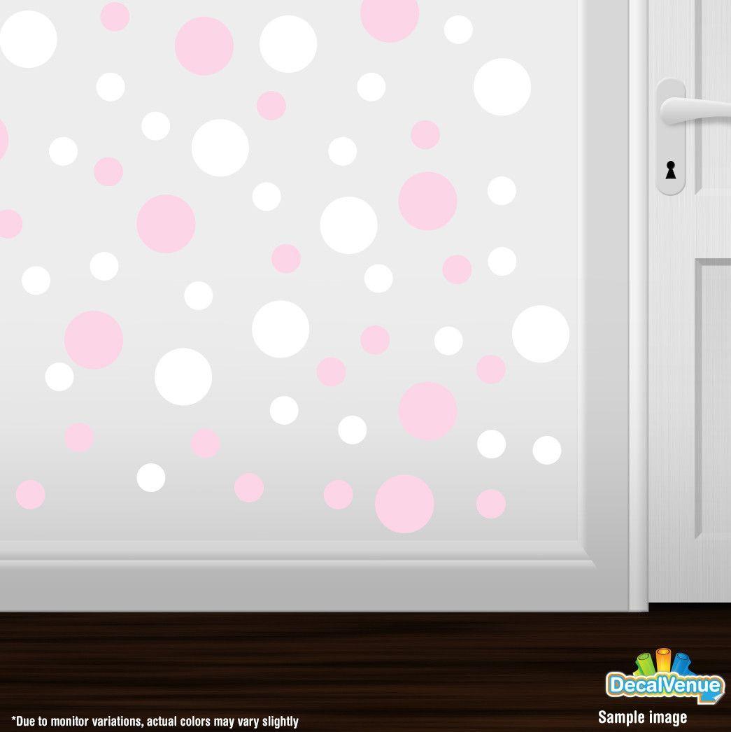 Baby Pink / White Polka Dot Circles Wall Decals