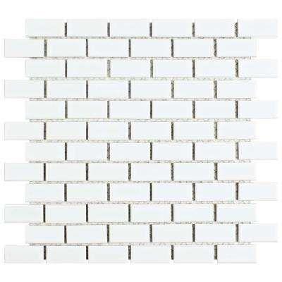Hudson Subway White 11 7 8 In X 12 In X 6 Mm Porcelain Mosaic Tile Porcelain Mosaic Porcelain Mosaic Tile Mosaic Flooring