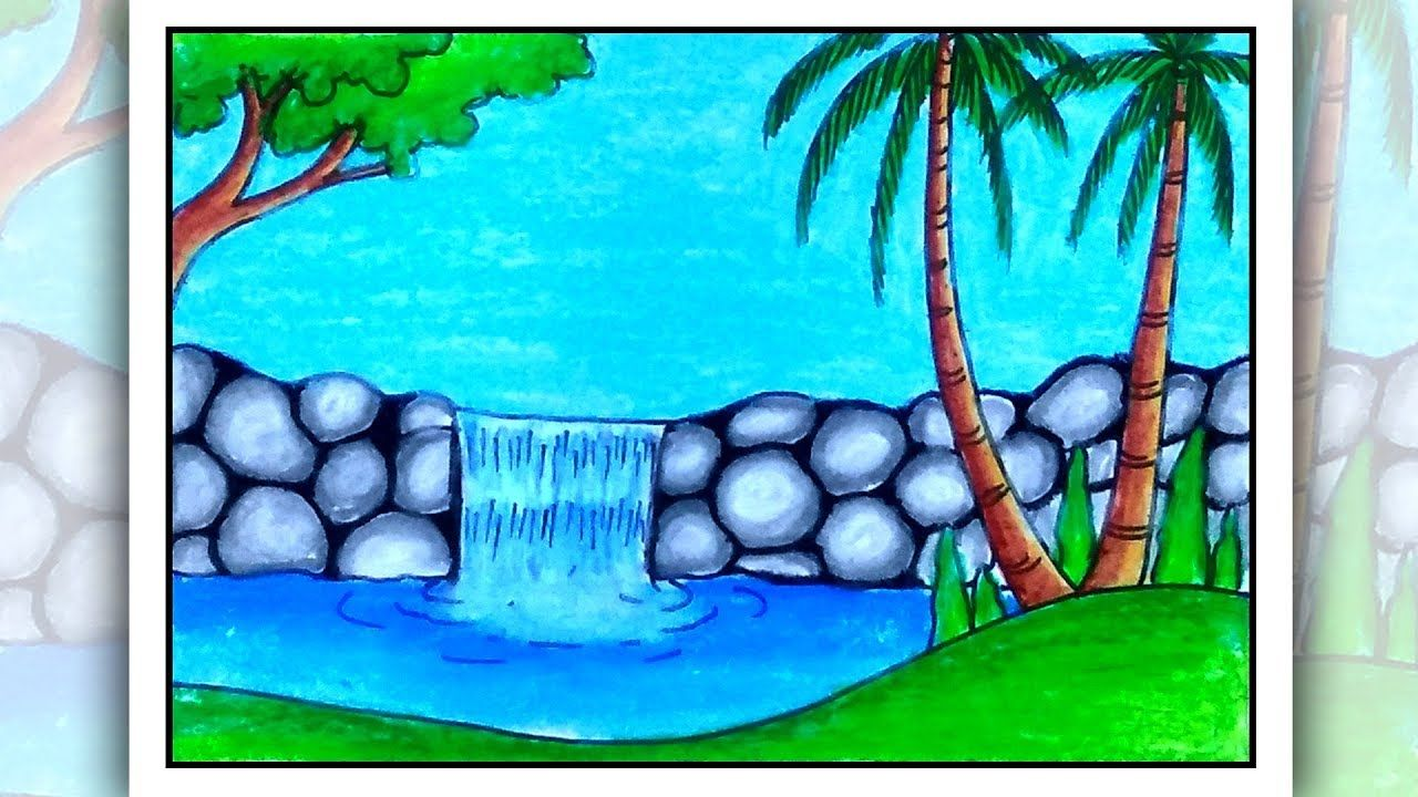 How To Draw Easy Scenery Waterfall Scenery Drawing Easy Scenery Drawing For Kids Easy Drawings Canvas Painting Projects