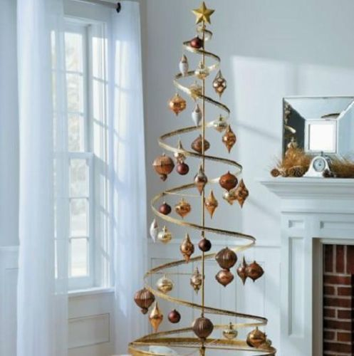 "Metal Tabletop Christmas Tree: 89"" Spiral Metal Christmas Ornament Display Tree Holiday"