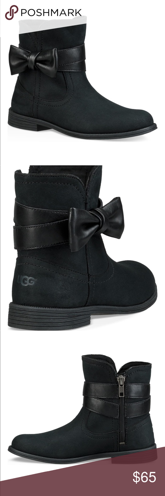 Ugg Joanie Bow Boot New, without box. Big girls size 5 or adult women's size 7. Low, short black boot with bow and zipper. UGG Shoes Boots #uggbootsoutfitblackgirl