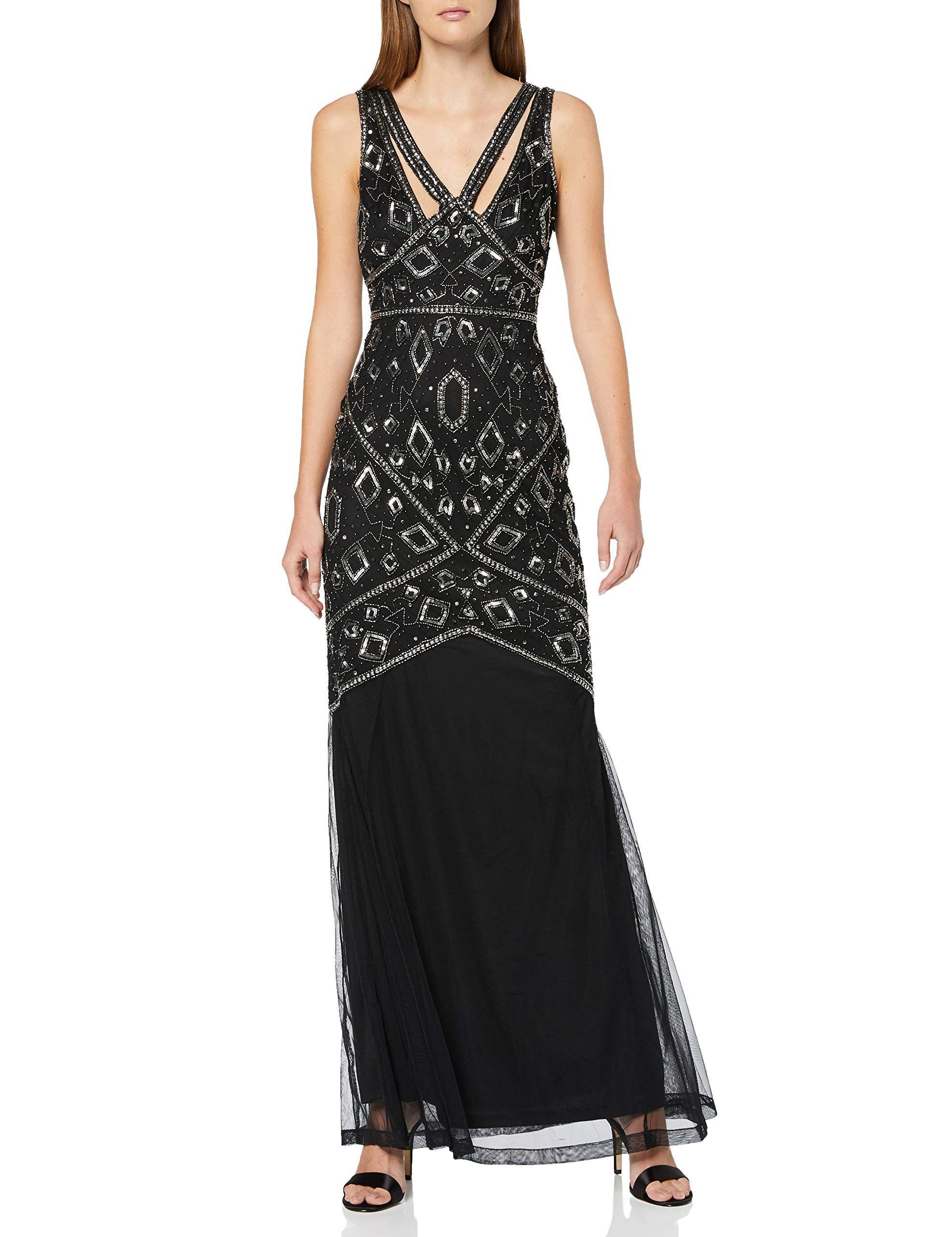Frock and Frill Henrietta Sleeveless Embellished Maxi Dress Vestito da Sera Donna