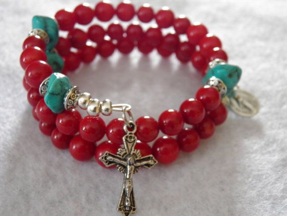 Southwest Red Bamboo Coral and Turquoise by rosarybraceletwrap5, $60.00