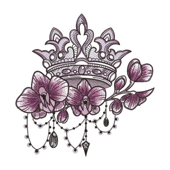 Flowers Embroidery Design Designs Crown | Etsy