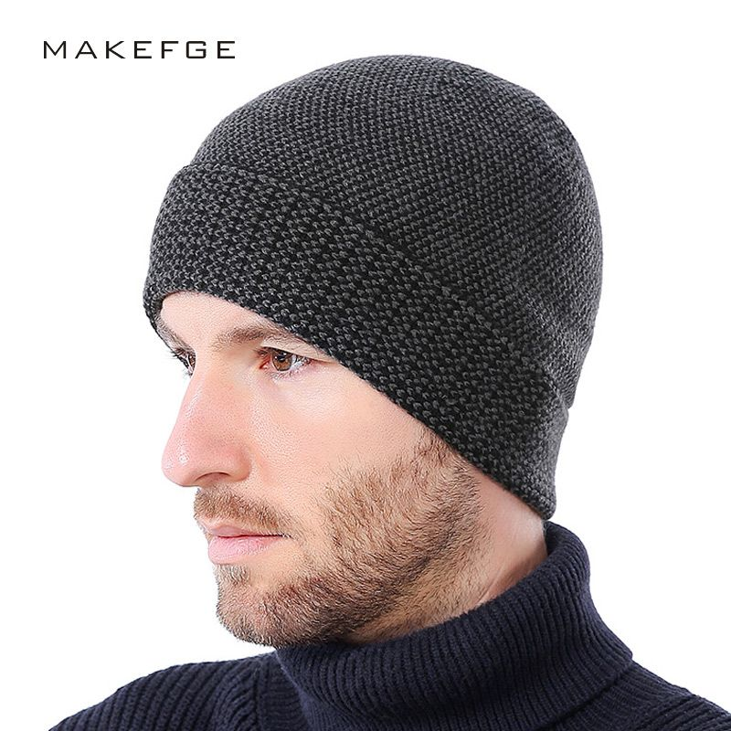 Winter cashmere mens cap hats Fashion Bonnet Gorros Caps For Men Thick  Winter Beanie Men Hat Warm Skullies Beanies With Velvet 62c22f9c305